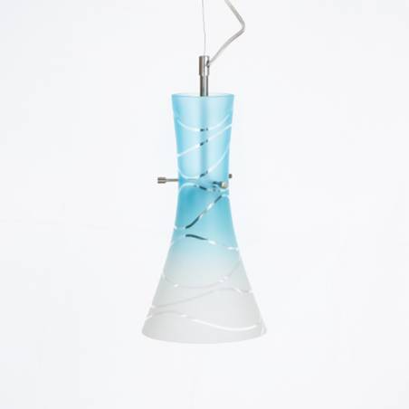 Cristal glass painted lamp 4370 with decor - waves