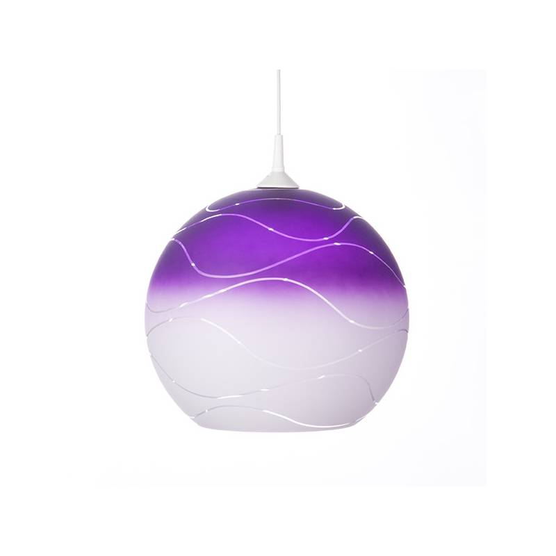 Cristal glass painted lamp 4067 with decor - waves