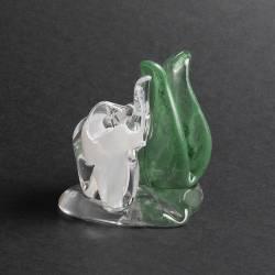 Figurka ze szkła jasnego z alabastrem - Serwetnik