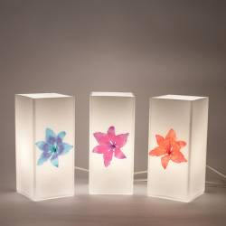 Opal painted lamp 4419 with decor - h. 210 mm