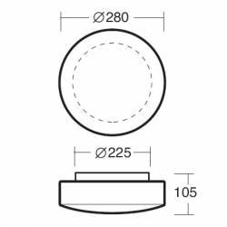 Plafon EDNA 2 opalowy matowy - śr. 280 mm