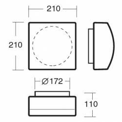 Plafon LINA 4 opalowy matowy - dł. 210 mm