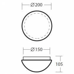 Plafon AURA 6 opalowy matowy - śr. 200 mm