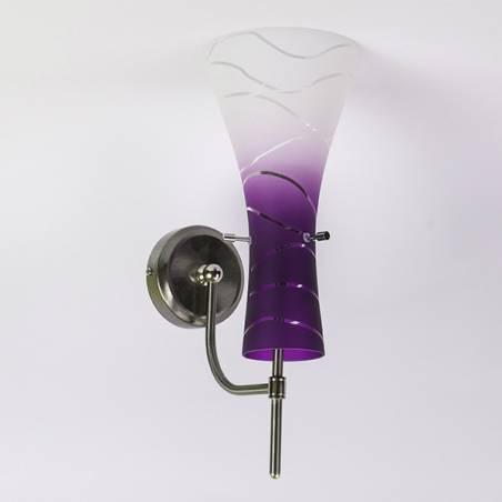 Wandleuchte 4370 hell matt mit Farbe bemalt und verzierz - Wellen - D. 150/75 mm