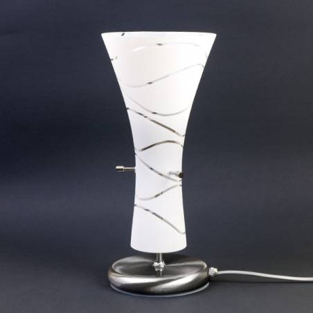 Cristal glass painted table lamp 4370 with decor - waves