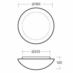 Plafon AURA 3 opalowy matowy - śr. 350 mm