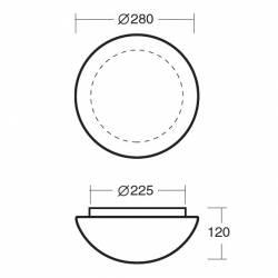 Plafon AURA 2 opalowy matowy - śr.280 mm