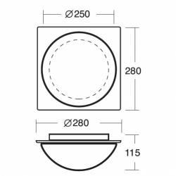 Plafon AURA D7-H opalowy matowy - dł. 280 mm