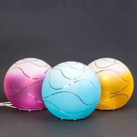 Lampa 4025 jasna malowana farbą zdobiona - fale - śr. 200/80 mm