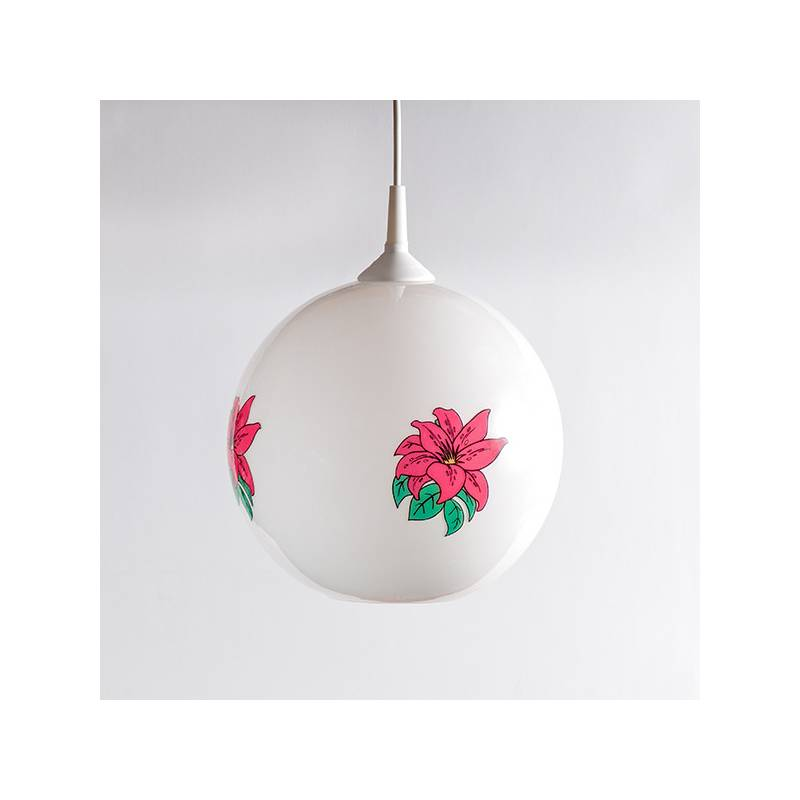 Opal lampshade 4054 with decor - d. 250/42 mm