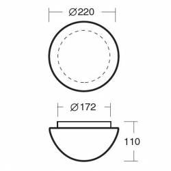 Plafon AURA 1 opalowy matowy - śr.220 mm